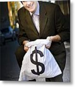 Happy Business Man Smiling With Money Bag Metal Print