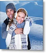 Happy Couple Playing Outdoor At Winter Mountains Metal Print