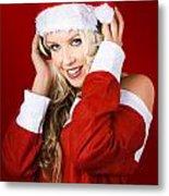Happy Dj Christmas Girl Listening To Xmas Music Metal Print