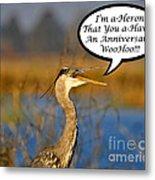 Happy Heron Anniversary Card Metal Print
