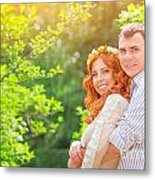 Happy Loving Couple Metal Print