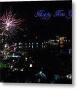 Happy New Year Greeting Card - Fireworks Display Metal Print