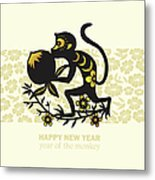Happy New Year, Year Of The Monkey 2016 Metal Print