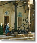 Harem Women Feeding Pigeons In A Courtyard Metal Print by Jean Leon Gerome