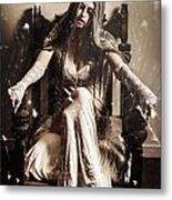 Haunting Horror Scene With A Strange Vampire Girl  Metal Print