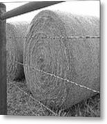 Hay Bales - Black And White Photography Metal Print