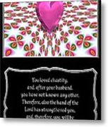 Heart And Love Design 16 With Bible Quote Metal Print