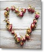 Heart From Dry Rose Buds Metal Print