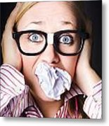 Hectic Business Person Under Stress Overload Metal Print