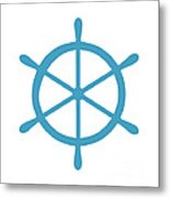 Helm In White And Turquoise Blue Metal Print