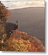 Hiker On Hawksbill Crag In Arkansas Metal Print