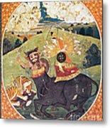 Hindu Goddess Durga Fights Mahishasur Metal Print