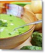Homemade Potato And Spinach Soup Metal Print