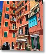 homes and promenade in Camogli Metal Print