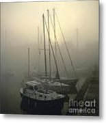Honfleur Harbour In Fog. Calvados. Normandy. France. Europe Metal Print