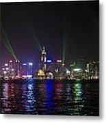 Hong Kong Harbour Laser Light Show  Metal Print