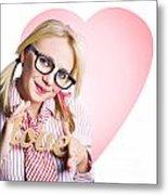 Hopeless Romantic Girl Showing Signs Of Love Metal Print