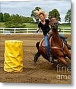 Horse And Rider In Barrel Race Metal Print