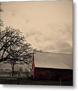 Horse Barn In Red  Metal Print by Garren Zanker