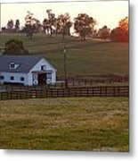 Horse Farm Sunset Metal Print
