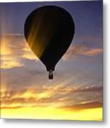 Hot Air Balloon At Sunset. Metal Print