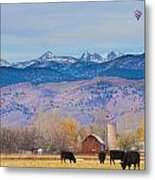 Hot Air Balloon Rocky Mountain County View Metal Print