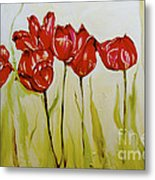 Hot Tulips Metal Print by Shelley Laffal