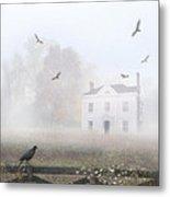 House In Fog Metal Print