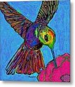 Hummingbird On Blue Metal Print