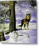 Hunting Wolf Metal Print