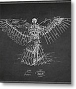 Icarus Flying Machine Patent Drawing Rear View Metal Print