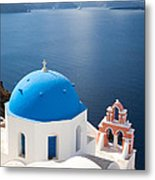 Iconic Blue Domed Churches In Oia Santorini Greece Metal Print by Matteo Colombo