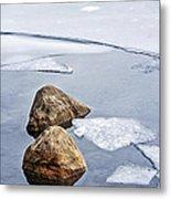 Icy Shore In Winter Metal Print