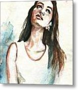 In Her Thoughts Metal Print
