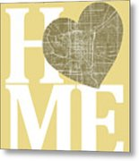 Indianapolis Street Map Home Heart - Indianapolis Indiana Road M Metal Print