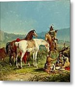 Indians Playing Cards Metal Print by John Mix Stanley