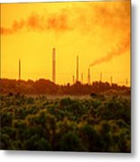 Industrial Chimney Stacks In Natural Landscape Polluting The Air Metal Print
