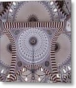 Inside The Azadi Mosque At Ashgabat In Turkmenistan Metal Print
