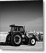 international 5140 tractor with front end loader on frozen field Forget Saskatchewan Canada Metal Print