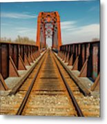Iron Railroad Bridge Over Water, Texas Metal Print