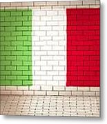 Italy Flag Brick Wall Background Metal Print