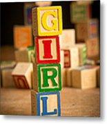 Its A Girl - Alphabet Blocks Metal Print