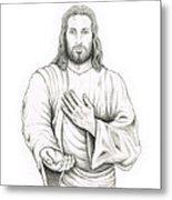 Jesus Offering His Hand Metal Print