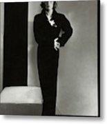 Joan Crawford Wearing A Schiaparelli Dress Metal Print