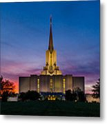 Jordan River Temple Sunset Metal Print