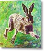 Joyful Hare Metal Print