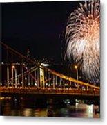 July 4th Fireworks In Pittsburgh Metal Print