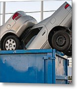 Junk Cars In Dumpster Cash For Clunkers Metal Print