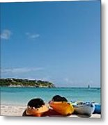 Kayaks On Beach Metal Print
