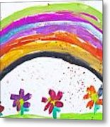 Kid's Drawing With Flowers And Colorful Rainbow Metal Print